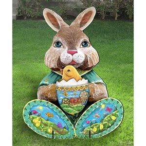 Indoor/Outdoor Easter Bunny Wood Statue w/ stand